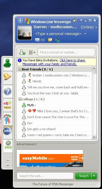 Windows Live Messenger 8 Invites