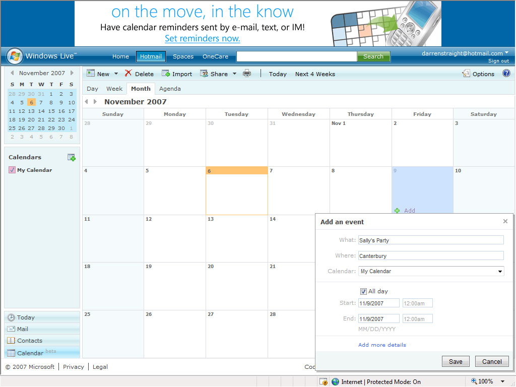 Once you have added the event Windows Live Calendar will let you know ...