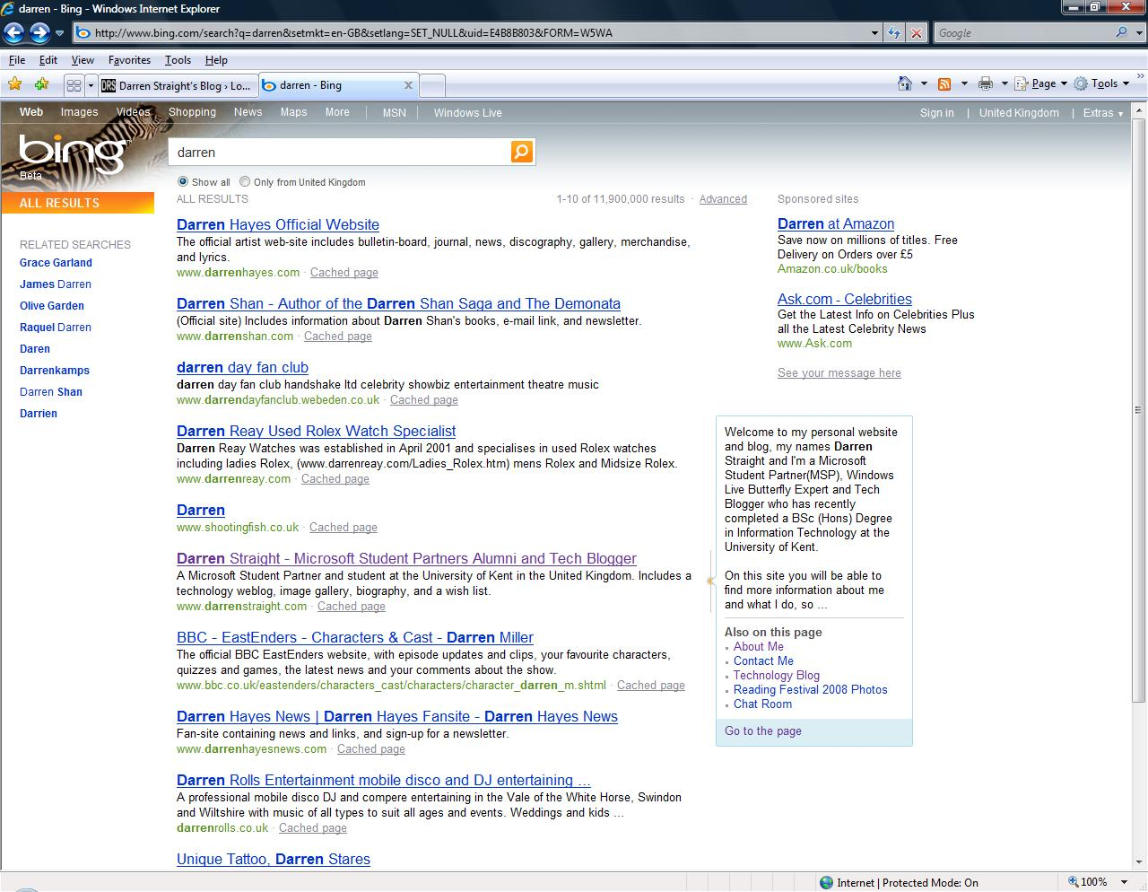 My Website Position In Bing For July 2009