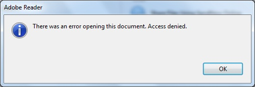 Adobe Reader X: There was an error opening this document. Access denied.